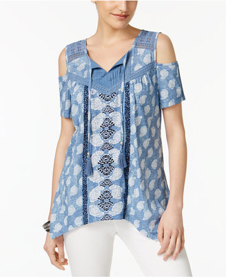 Style & Co Tasseled Cold Shoulder Top, Only at Macy's $44.50 thestylecure.com