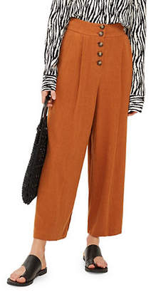 Topshop Horn Button Crop Wide Trousers