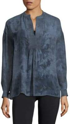 Vince Watercolour Marble Silk Blouse