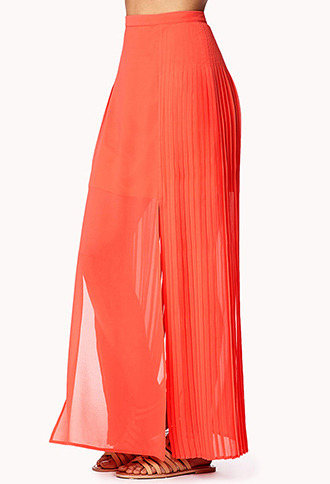 Forever 21 Accordion Pleated Georgette Maxi Skirt