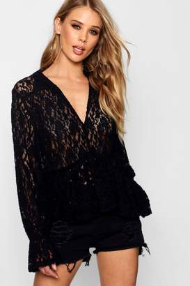 boohoo Lace Plunge Front Blouse