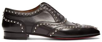 Christian Louboutin Charlie Clou Studded Leather Oxford Shoes - Mens - Black Multi