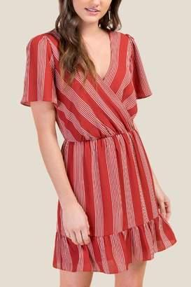 francesca's Katherine Striped Wrap Dress - Cinnamon