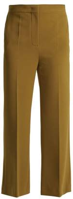 Fendi Cropped Cady Trousers - Womens - Yellow