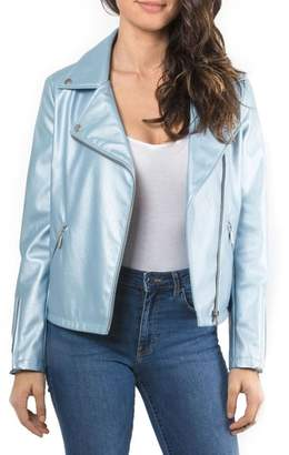 Bagatelle Metallic Faux Leather Biker Jacket