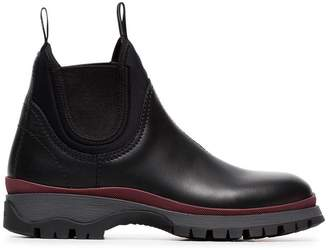 Prada black 30 chunky leather Chelsea boots