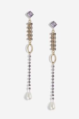 Topshop Mega Stone and Pearl Drop Earrings