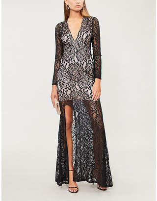 Forever Unique Floral stretch-lace plunge-front dress