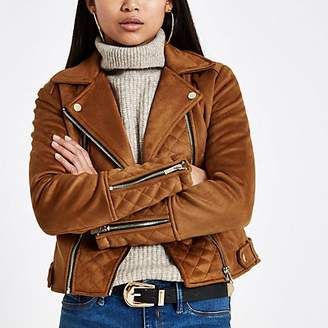 River Island Petite brown suedette quilted biker jacket