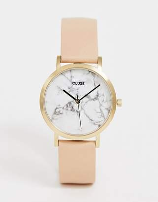 Cluse La Roche Marble Pink & Rose Gold Leather Watch
