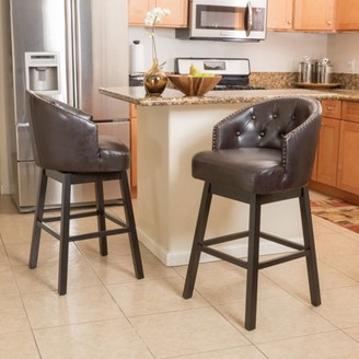 Morgan Noble House Brown Bonded Leather Swivel Bar Stool (Set of 2)