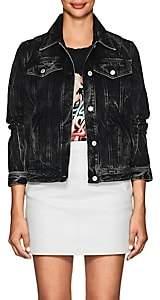 Givenchy Women's Logo Acid-Wash Denim Jacket-Black