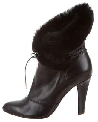 Marc Jacobs Fur-Trimmed Leather Booties