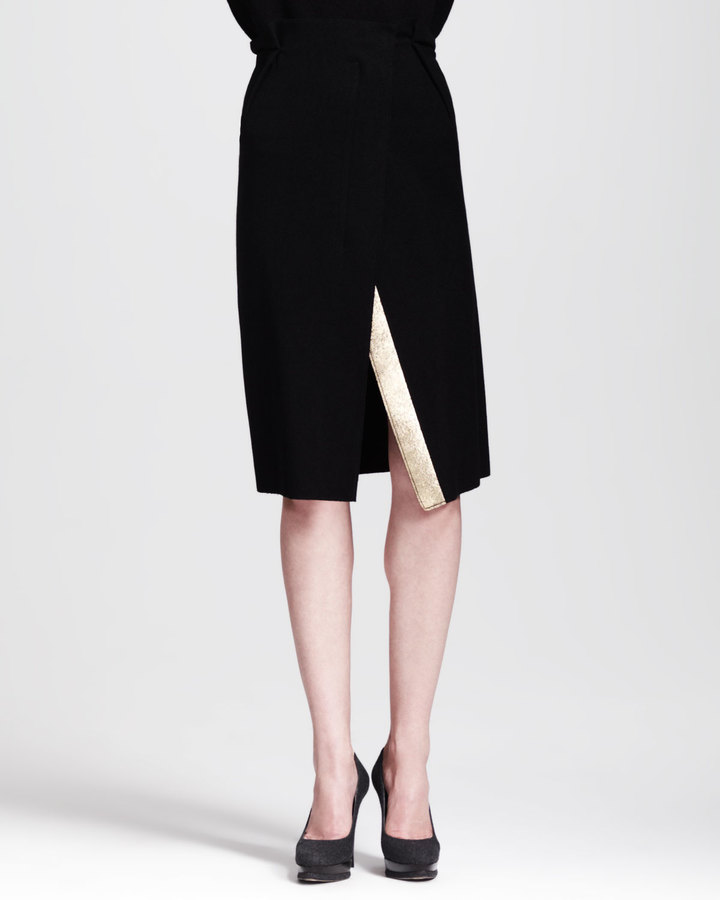 Jil Sander Paprika Notched-Front Skirt