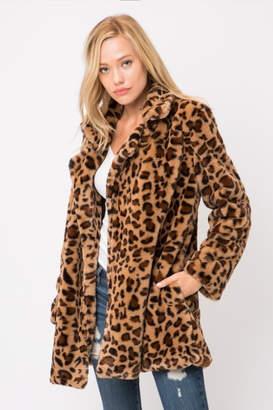 Olivaceous Leopard Faux Fur Jacket