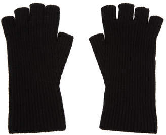 Julius Black Rib Text Gloves