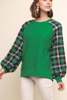 Umgee USA Plaid Puff Sweater