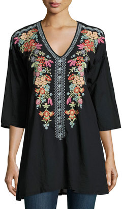 Johnny Was Heidi Embroidered V-Neck Tunic, Black $199 thestylecure.com