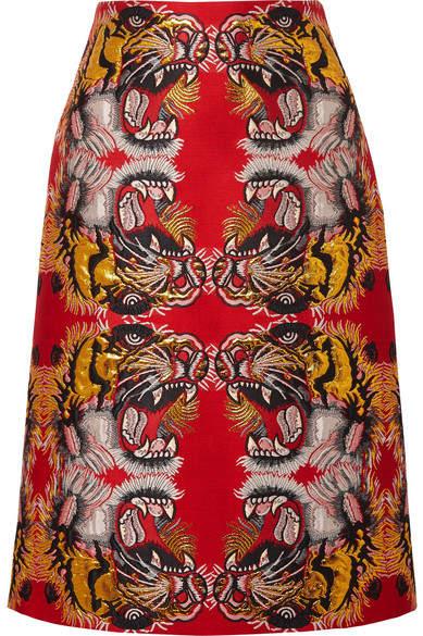 Gucci - Jacquard Midi Skirt - Red