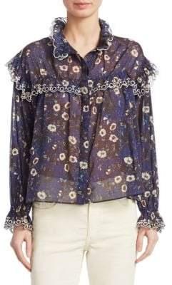 Etoile Isabel Marant Elmira Cotton Floral Ruffle Blouse