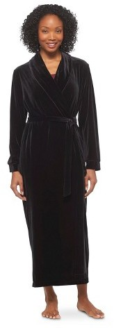 Gilligan & O'Malley Women's Velour Robe Black