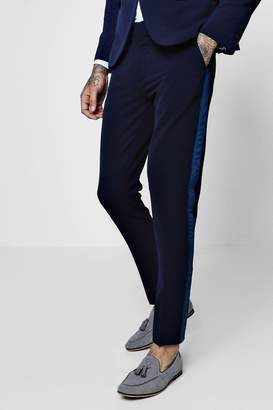 boohoo Skinny Fit Suit Trouser With Velvet Taping