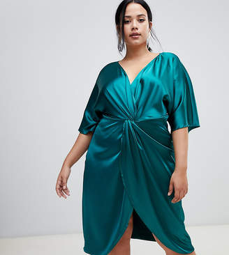 John Zack Plus knot front satin midi dress in green