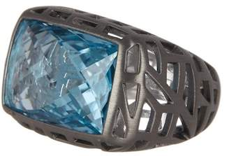 Breuning Sterling Silver Blue Topaz Etched Ring - Size 7