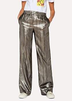Paul Smith Women's Metallic Pin-Stripe Wide Leg Pants