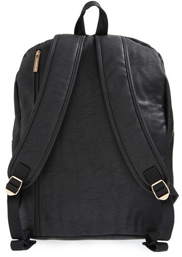 Infant Girl's The Honest Company 'City' Faux Leather Diaper Backpack - Black 2