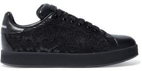 Dolce & Gabbana Lace-Paneled Leather Sneakers