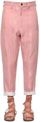 Ann Demeulemeester Embroidered Cotton & Linen Pants