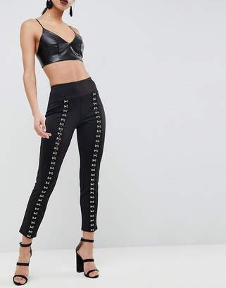 Club L Jegging Pants With Eyelet Detail