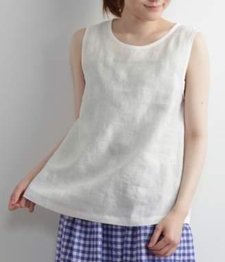 【送料無料】リネン刺繍ノースリブラウス(A・オフホワイト)