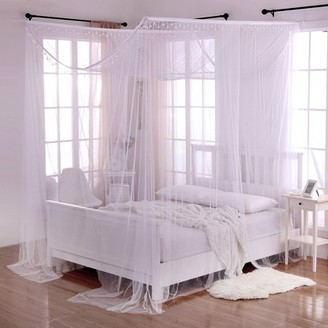 Casablanca White Crystal Palace 4-Post Bed Sheer Mosquito Net Panel Canopy