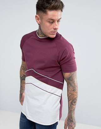 Asos Longline T-Shirt With Retro Cut And Sew Panelling In Burgundy