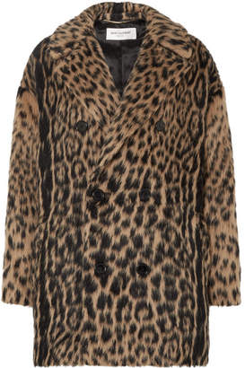 Saint Laurent Double-breasted Leopard-print Wool-blend Coat - Leopard print