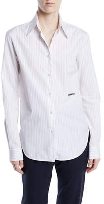 Calvin Klein Long-Sleeve Button-Front Pinstripe Shirt w/ Embroidery