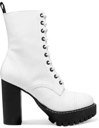 ALEXACHUNG Lace-up Leather Ankle Boots - White