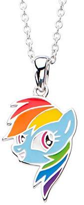 """My Little Pony Hasbro Jewelry Rainbow Dash Women's 925 Sterling with 16"""" Chain Pendant Necklace"""