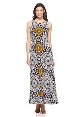 London Times Women's Sleeveless Pleat Neck Maxi Dress