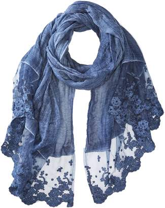 La Fiorentina Women's Thin Polyester Scarf/wrap With Lacy Trim