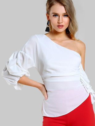 Shein One Shoulder Gathered Sleeve Top