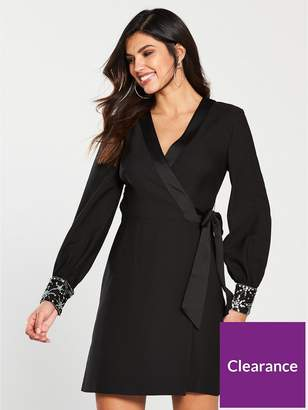 Warehouse Star Embellished Cuff Mini Wrap Dress - Black