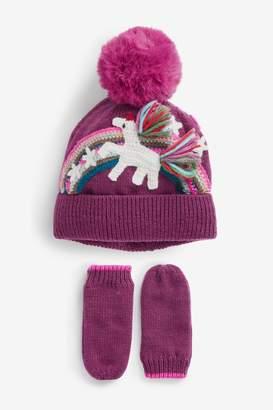 Next Girls Plum Unicorn 2 Piece Hat And Gloves Set (Younger) - Purple
