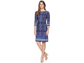London Times Scroll Paisley Stripe 3/4 Sleeve Dress Women's Dress