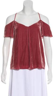 Joie Velvet Cold-Shoulder Top