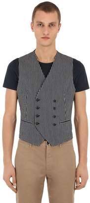 Tagliatore Striped Cotton Seersucker Vest