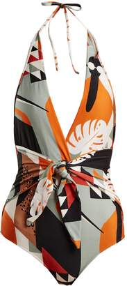 ADRIANA DEGREAS Tropical-print V-neck knot swimsuit