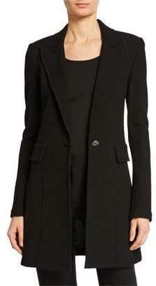St. John Micro Boucle Long Blazer, Black